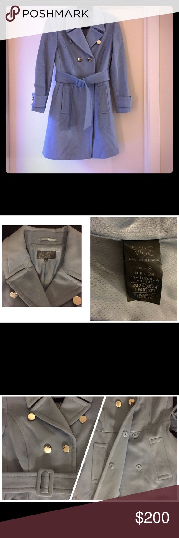 Mark & Spencer _ Per Una _ New M&S is UK's brand. UK : 8, US : 36. Never been worn, color : greyish blue, around knee length, excellent condition, great quality, warm. Mark & Spencer Jackets & Coats Trench Coats