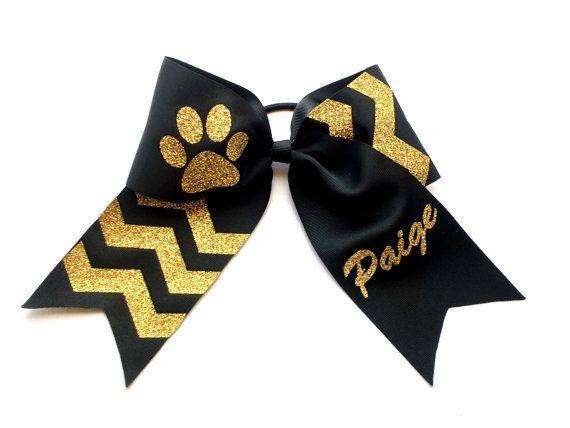 Glitter Cheer Bow, Cheer Bows, Black, Gold,  Custom Cheer Bows, Competition Cheerleading, Cheerleaders, Dance, Gymanastics, Girls, Teens
