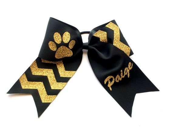 Glitter Cheer Bow, Cheer Bows, Black, Gold,  Custom Cheer Bows, Competition Cheerleading, Cheerleaders, Dance, Gymanastics, Girls, Teens