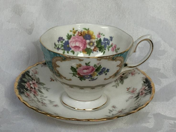 Lovely Eclectic Teacup and Saucer from England - Royal Albert Fine Bone China by MoxieAntiques on Etsy