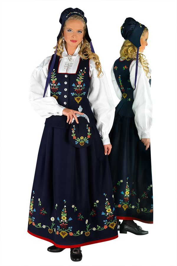 Lofotbunad, front and back (designed in 1940s based on styles and embroidery from the 1700s-1800s)