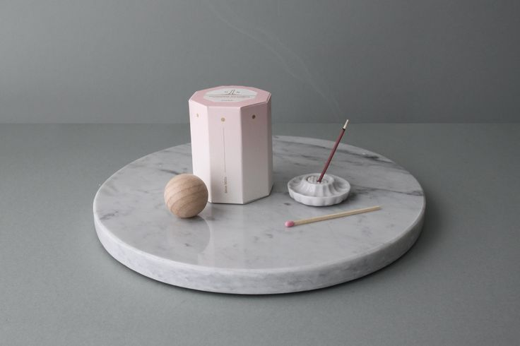 OIMU matchbox _ Pale pink , incense stick, marble tray