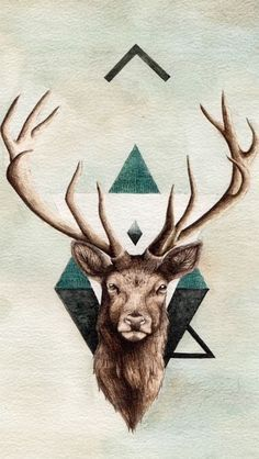 hipster triangle deer shit iPhone wallpaper background.
