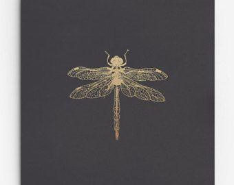Dragonfly Stampa. Finto oro Poster di insetto. Insetto alato