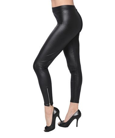Another great find on #zulily! Black Metallic Zip-Up Leggings - Women #zulilyfinds