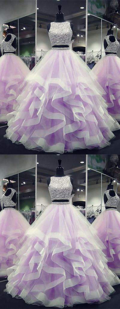 Amazing Exquisite Sequin Beaded Organza Ruffles Prom Dresses Two Piece A0842 · ModelDre…