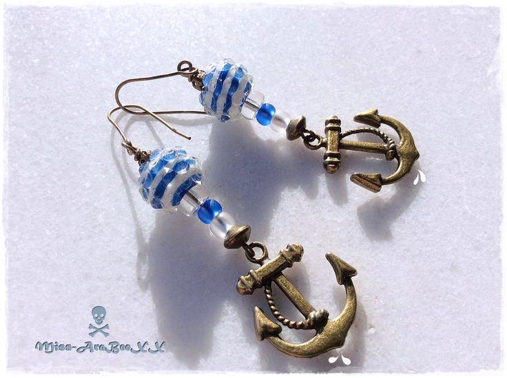 Ohrringe Anker bronze blau-weiß maritim mediterran Boho Ibiza Strand Meer See Wasser Wasserball von MissAraBeeXX auf Etsy