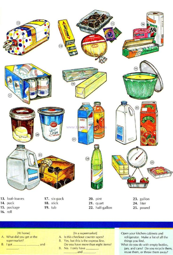 47 - CONTAINERS AND QUATITIES B - Pictures dictionary - English Study, explanations, free exercises, speaking, listening, grammar lessons, reading, writing, vocabulary, dictionary and teaching materials