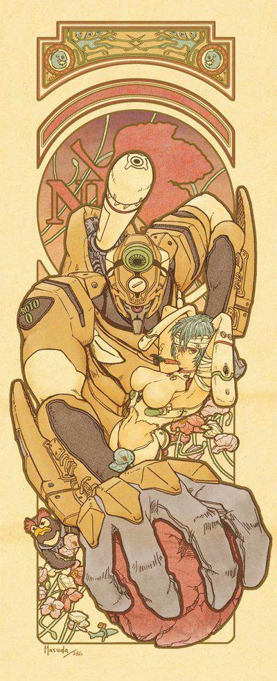 Mucha style Evangelion by masudamasaru.deviantart.com on @DeviantArt