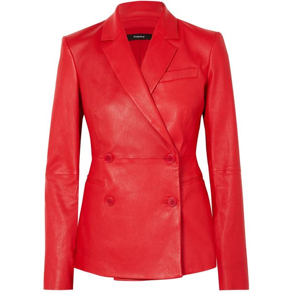 d21dc9187 Theory Bristol double-breasted leather blazer ($1,470) ❤ liked on ...
