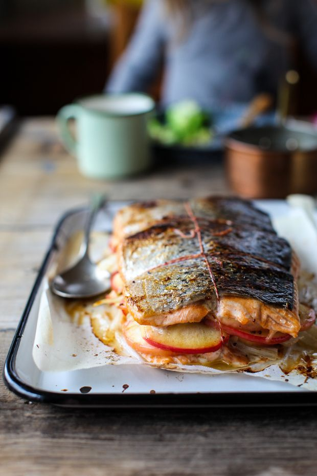Apple & Fennel Stuffed Salmon with Cider Sauce