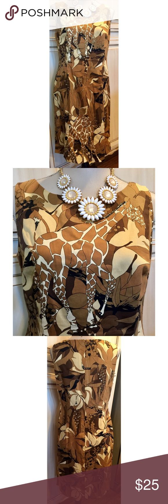 """Talbots Petite Brown & Tan Animal Print Shift❤️ Talbots Petite animal print shift. Hidden back zipper. Bust 18"""" across. Waist 16"""" across. Length is 36"""" from shoulder to hem. Lined. 100% cotton. ❤ Talbots Dresses"""