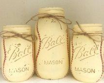 Tarros de Mason pintado béisbol Vintage - juego de 3 - bebé niño vivero-béisbol infantil-Baby Boy ducha centro de mesa - deportes tema cumpleaños decoración