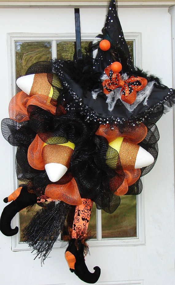 Candy Corn Witch Hallowen Wreath Fall