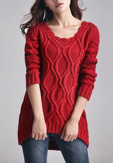 Blue+/Red+/White+loose+style++woman+sweater+by+happyfamilyjudy,+$78.99