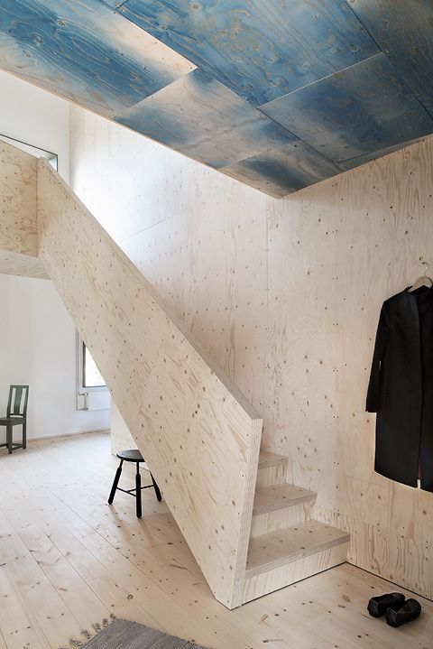 The Plywood House, designed by Swedish architect Tommy Carlsson. The property is marketed by Fantastic Frank. Photography by Andy Liffner and interior styling by Sofie Ganeva, via Fantastic Frank.