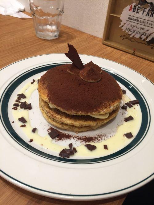 Tiramisu pancakes at Cafe Gram in Fukuoka, Japan