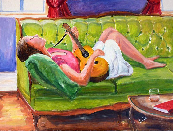 """Sur le sofa, 48 X 36"""", acrylique, François Coulombe"""