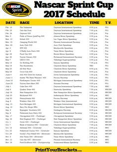 2017 Nascar Sprint Cup Schedule