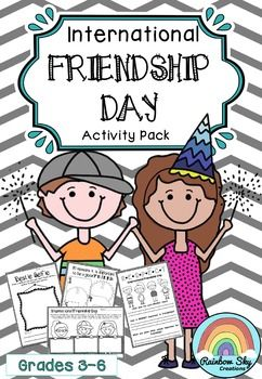 This pack is made up of literacy, numeracy, creative and reflective activities based on the theme of friendship for Years 3 - 6. International Friendship Day is celebrated worldwide on July 30. ~ Rainbow Sky Creations ~