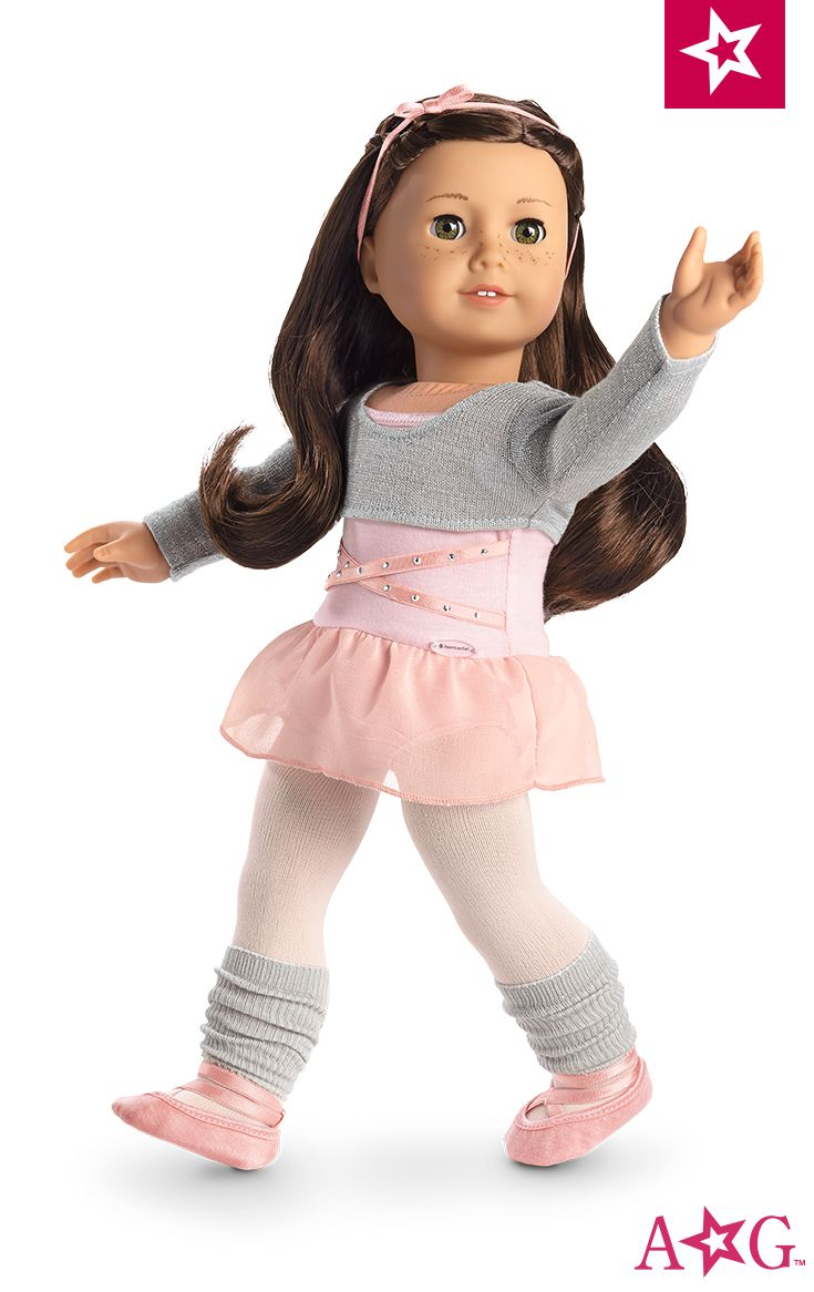 Ballet Class Outfit for Dolls. She can practice pirouettes in this six-piece outfit! It includes: • A pink leotard with satin elastic and silver stud details • A silver glitter-knit cropped sweater • Pink tights • Gray leg warmers • Pink ballet shoes • A pink satin elastic headband $28