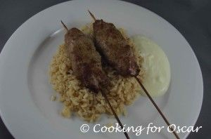 Beef Koftas with Brown Rice and Saffron Yogurt