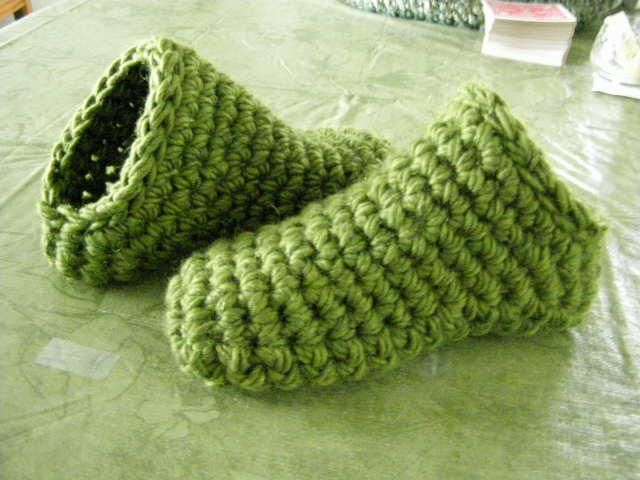 Crochet Patterns Chunky Yarn : Toe Up Crocheted slippers Extra bulky yarn, Double strand or Chunky ...