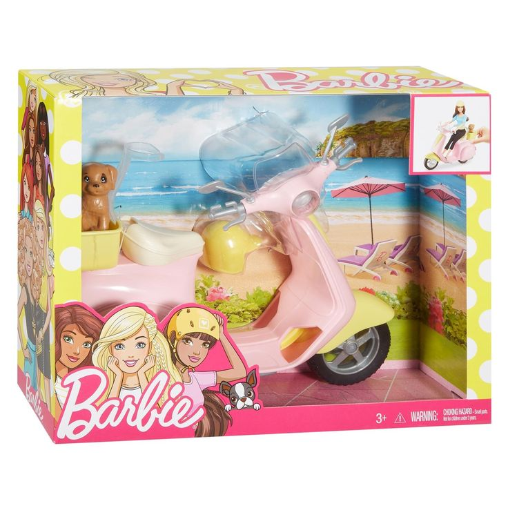 Maak de leukste ritjes met Barbie en haar dierenvriendje op deze hippe Barbie Scooter. De scooter is stijlvol uitgevoerd met roze, gele en zilveren accenten. Zet Barbie op het zadel van de scooter en bevestig de clips. Dankzij de gele helm gaat Barbie stijlvol én veilig het avontuur tegemoet! Exclusief Barbiepop, inclusief puppy. - Barbie Scooter