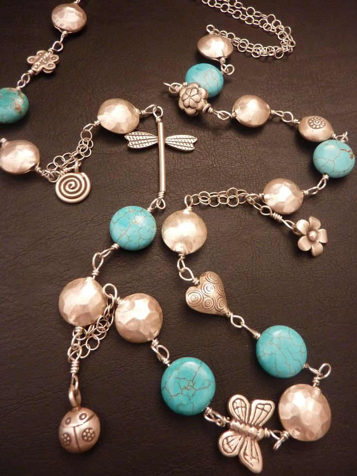 turquose with Thai silver beads and sterling silver chain