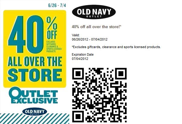 Extra 40% off everything at Old Navy Outlet locations