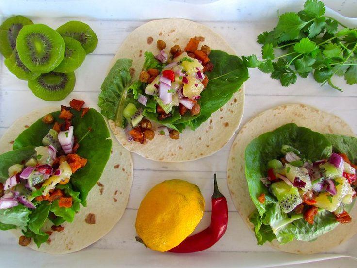 Roasted Kumara and Chickpea Tacos with Kiwifruit Salsa