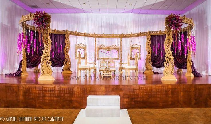 Indian Wedding, Boynton Beach BAPS Mandir, Suhaag Garden, Indian wedding decorators, Florida wedding decorators, wooden carved mandap, orchids, crystal beads, lavender drapes