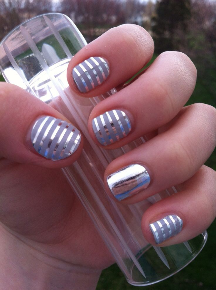 Grey and Silver Stripe goes with everything, I swear!!  Here it is with Metallic Chrome Silver as an accent!!
