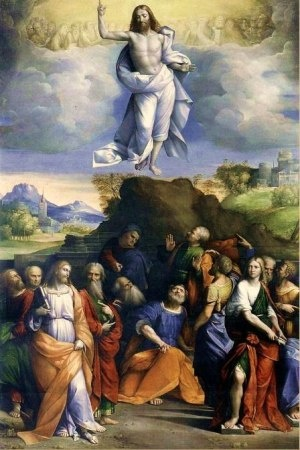 """The Ascension of Christ. BIBLE SCRIPTURE: Luke 24:51, """"And it came to pass, while he blessed them, he was parted from them, and carried up into heaven."""""""