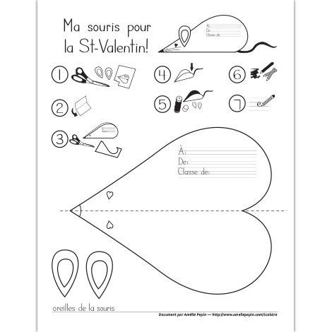 Fichier PDF téléchargeable En noir et blanc seulement 1 page  Instructions et modèle pour bricoler une souris de la Saint-Valentin (réalisée à partir d'un coeur). Les enfants peuvent par la suite la donner à un ami. Collée sur un carton, la souris peut même servir de carte (il suffit de coller la corde de la queue entre la feuille et le carton). L'élève peut donc écrire son message à l'intérieur, côté carton.