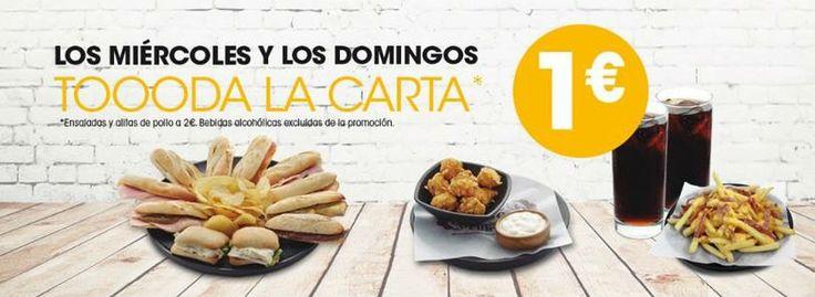 ¡Los miércoles llegan cargados de buenas noticias y es que hoy puedes disfrutar de la #Euromanía de 100Montaditos en tu restaurante de #ElIngenio !   ¡Toda la carta a 1€! (ensalada y alitas de pollo 2€)