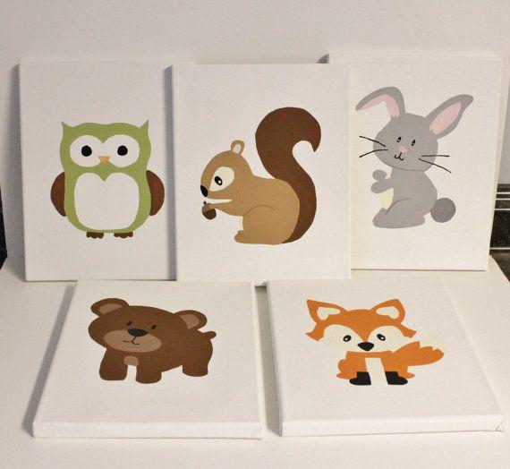 Woodland Animals Nursery Paintings Pick 3 8x10 Paintings