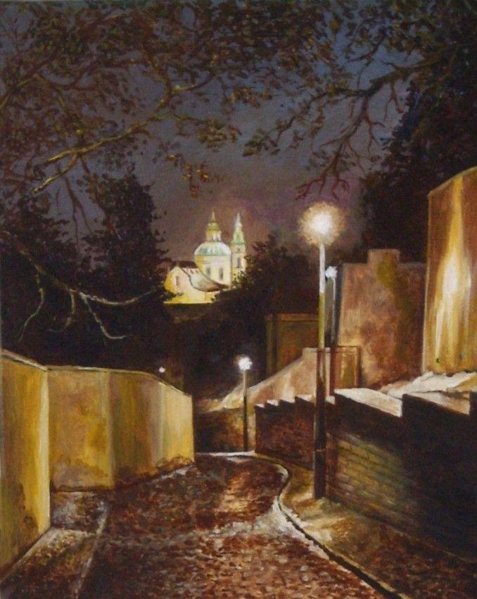 """""""Vlašská ulice, Praha"""" - autorská malba na plátně 30 x 24 cm - akryl / olej."""