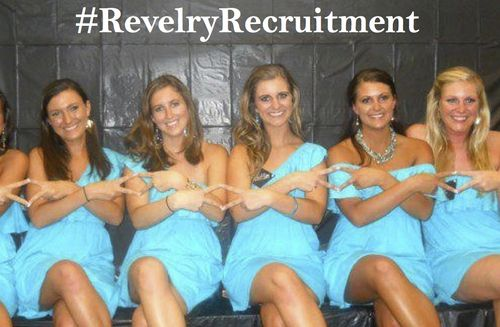 Sorority recruitment dresses!  Affordable group prices… $40! Cash prize give away for cutest videos and pictures tagged with #RevelryRecruitment.  (Chapter must be in Revelry Apparel!)