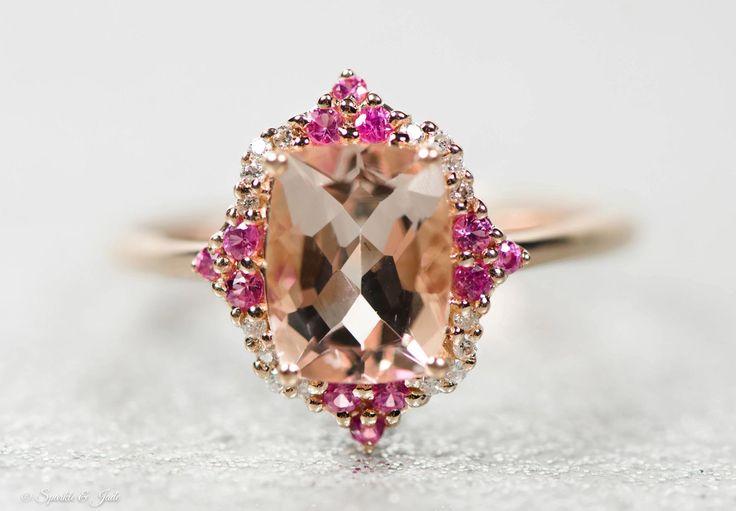 14k Rose Gold Genuine Morganite, Diamond and Pink Sapphire Ring , - Sparkle & Jade - 3