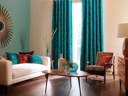 Best  Turquoise Curtains Ideas On Pinterest Teal Kitchen - Red and turquoise living room