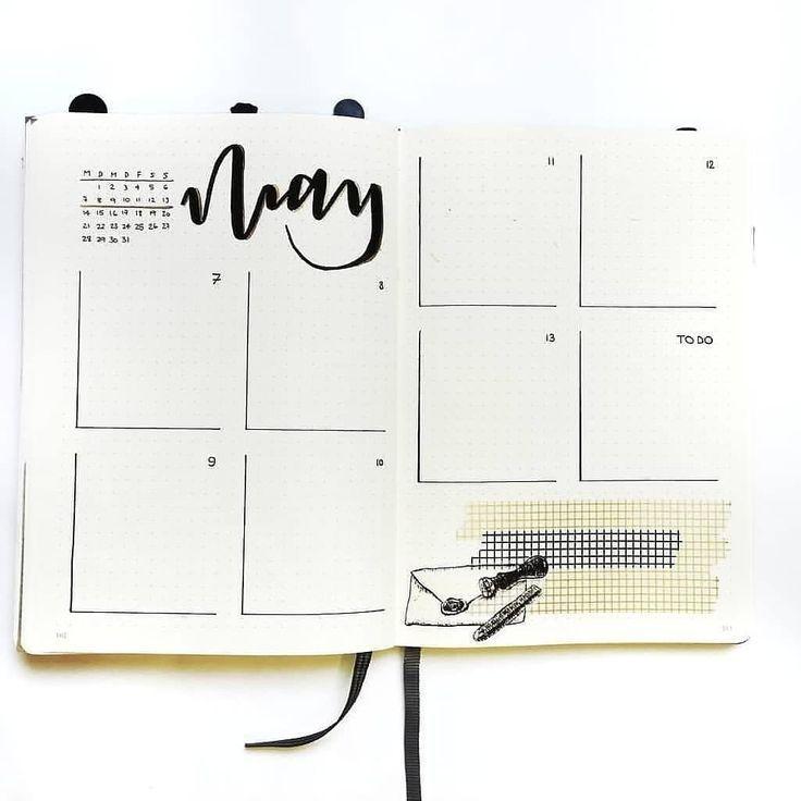 Werfen Sie einen Blick auf diese einfachen und minimalistischen wöchentlichen Spreads / Layouts des Bullet-Journals …