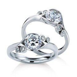 Floral Diamond Enagement Rings, Englewood Cliffs, NJ   MaeVona #Jewelry #diamond #rings #bridaljewelry #weddingjewelry #engagementrings