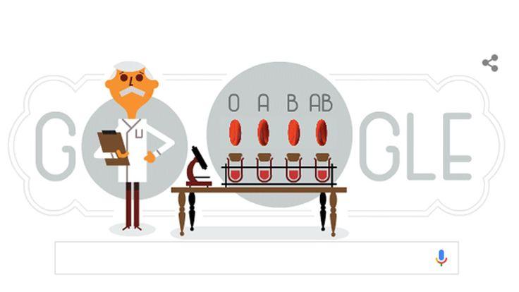 Karl Landsteiner, el médico que descubrió los grupos sanguíneos  El doodle de Google que homenajea al doctor Karl Landsteiner