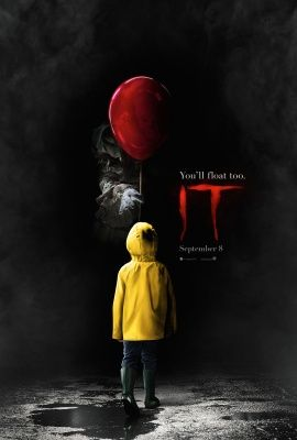 """IT (2017) Poster. Horror/Thriller. - Back of child being offered a red balloon by a clown coming out of the darkness with """"IT"""" logo to the right. Based on Stephen King novel and remake of 1990 movie 'IT' - Starring Bill Skarsgård as the evil villian clown """"Pennywise"""" - In theaters September 8, 2017 