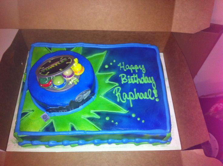 "- Butter cream ninja turtle half sheet cake w/7"" round cake on top"