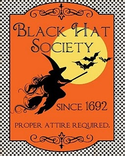 Witch art - vintage look printable  - I think the black hat has the red hat beat by at least a couple of years. Ha Ha!