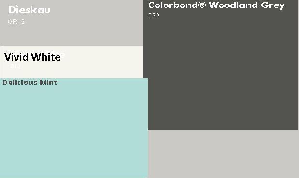 Dulux Dieskau walls, Dulux Vivid White trim, Woodland Grey Roof and concrete, British Paints Delicious Mint Gloss Door.