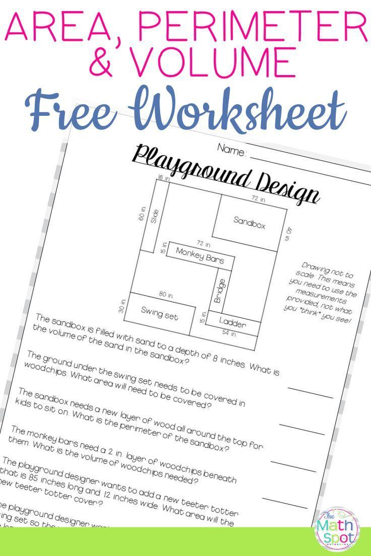 Volume Area Perimeter Worksheet FREE   Perimeter worksheets [ 1104 x 736 Pixel ]