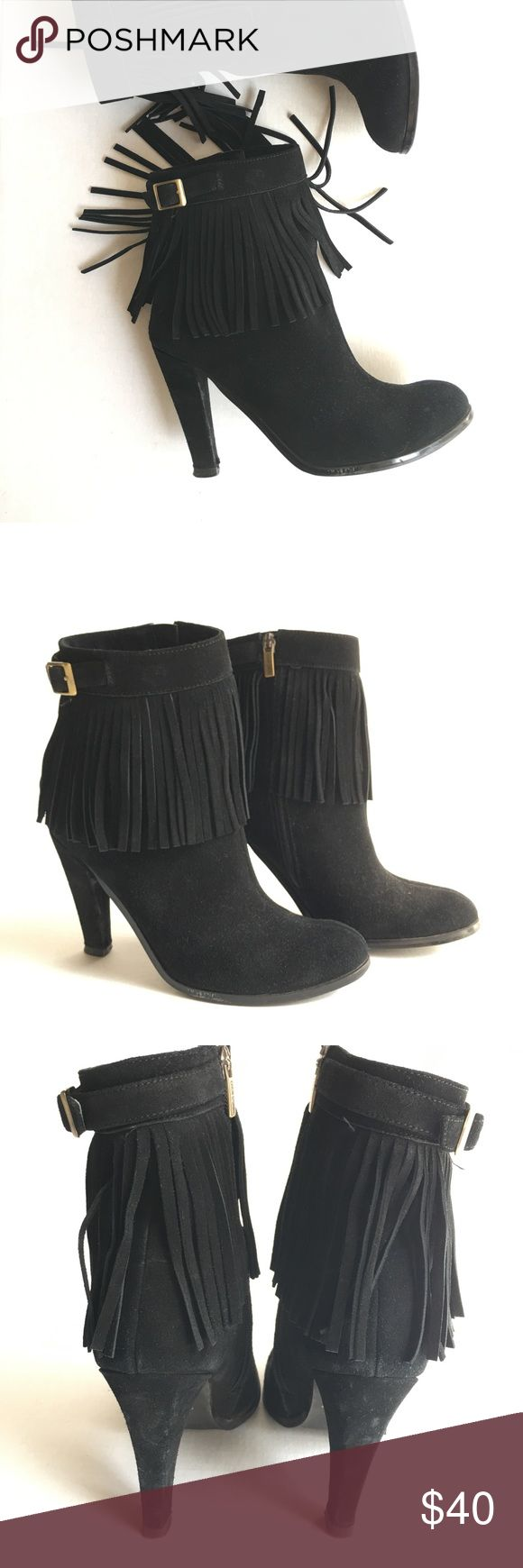 "Colin Stuart Black Suede Fringe Ankle Boots 3"" heel. Brass buckle detail at ankle. Inside zipper. Box kept for years. Worn a handful of times. Excellent condition. Colin Stuart Shoes Ankle Boots & Booties"